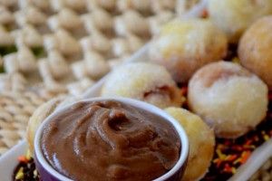 Apple Pie Pancake Poppers with Chocolate Caramel Sauce!!  YUMMM!!