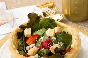 Strawberry Spinach Salad in Puff Pastry Bowl