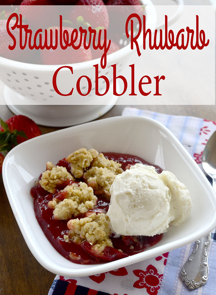 4th of July Strawberry Rhubarb Cobbler~Recipe - Pink Cake Plate