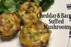 Cheddar Bacon Stuffed Mushrooms Easy Appetizer 1