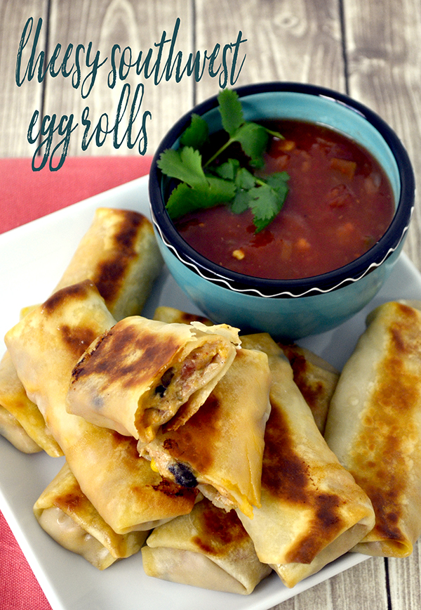 Cheesy Southwest Egg Rolls~Turn this Slow Cooker Creamy Chicken Chili into delicious and mouthwatering Cheesy Southwest Egg Rolls!
