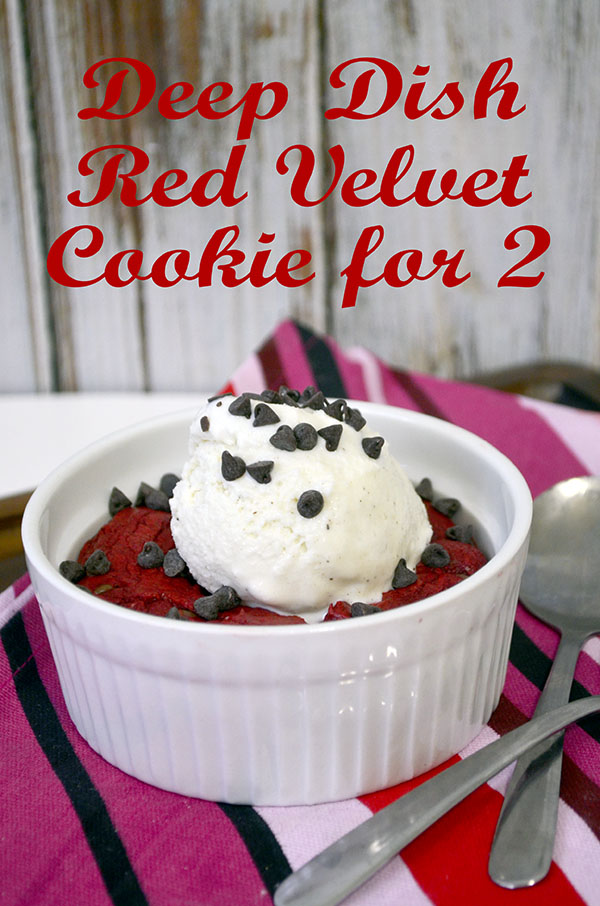 deep dish red velvet chocolate chip cookie for two 1