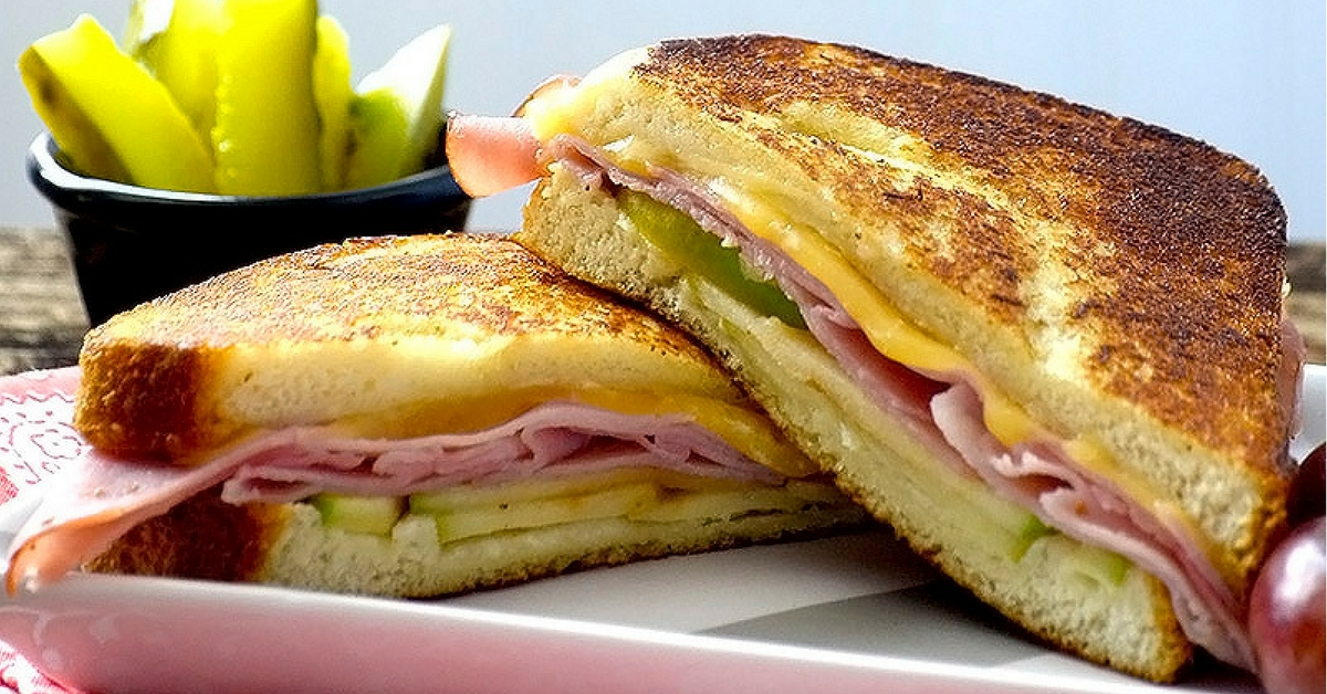 Smoked ham gouda and apple sandwich fb