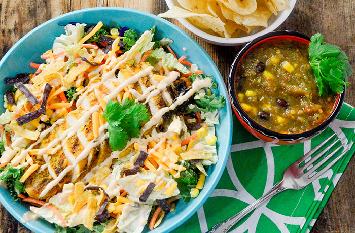 Black Bean and Corn Salsa Verde with Eat Smart Southwest Chicken Salad