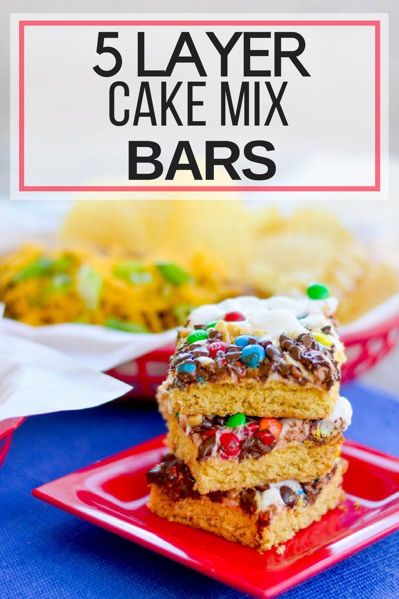 Five Layer Cake Mix Bars