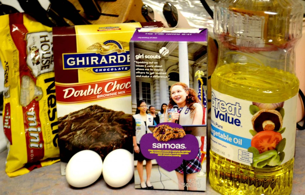 Ingrediants for Samoa Cookie Brownies @ pinkcakeplate.com