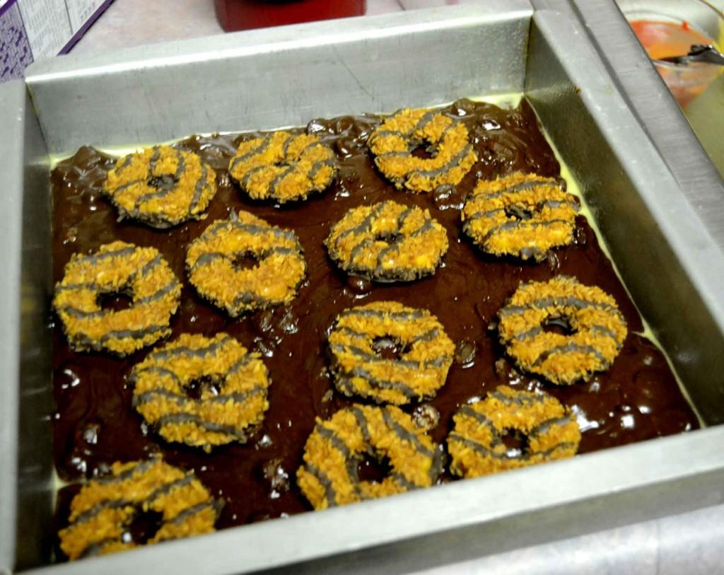 Layer 2 Samoa Cookie Brownies @ pinkcakeplate.com