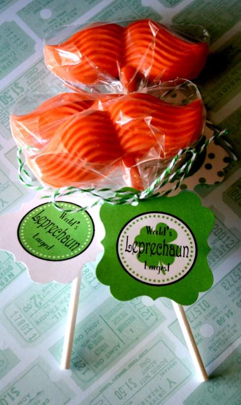 Leprechaun Mustache Lollies Free Printable Tag