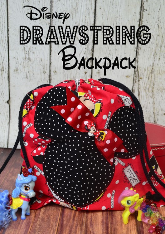 disney drawstring backpack text