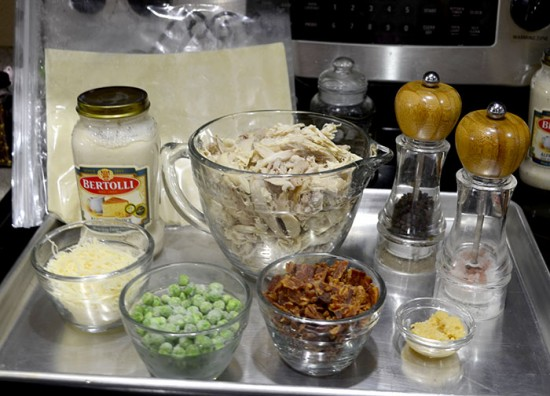 rustic chicken carbonara pot pie ingrediants