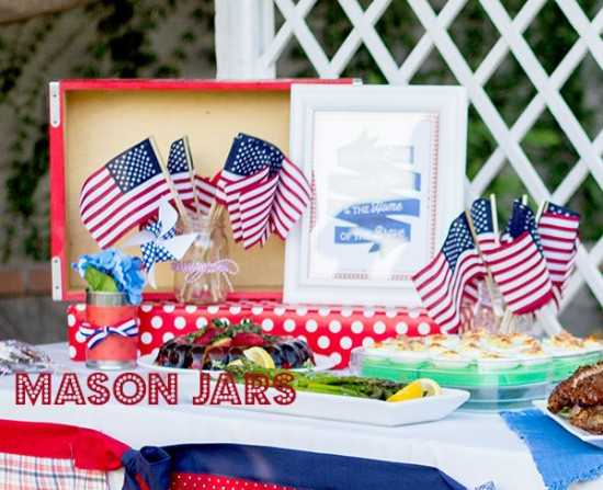 4th of July Mason Jar arrangment