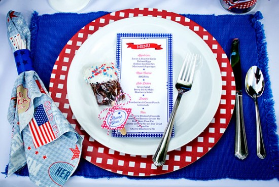 4th of July menu card
