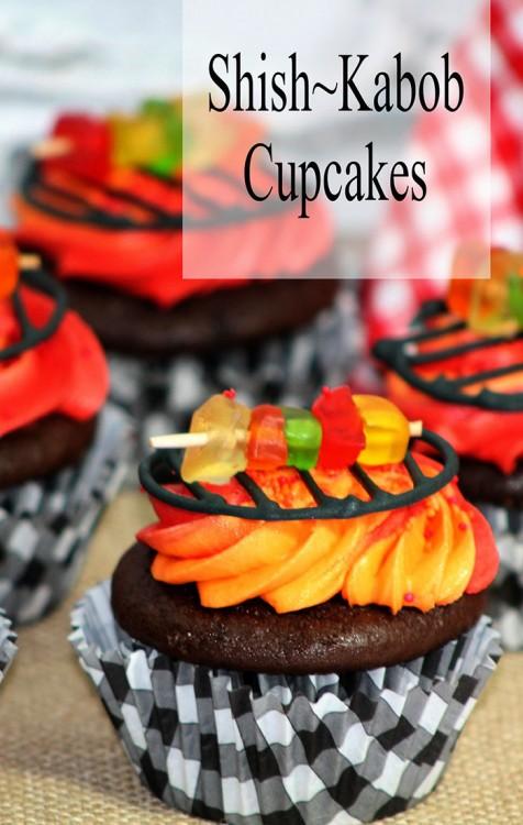 BBQ Shish~Kabob Cupcake Recipe Pinkcakeplate.com