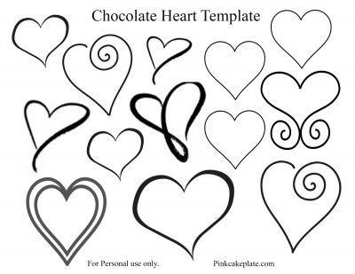 Easy Chocolate Heart Tutorial and Template - Pink Cake Plate