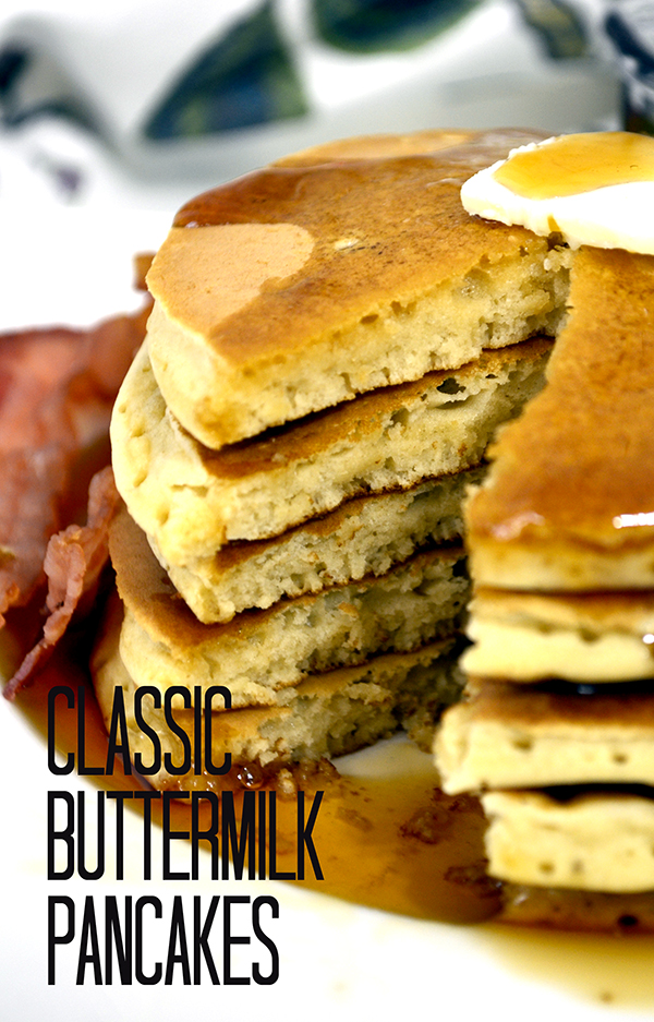 These pancakes are so fluffy and easy to make! Classic Buttermilk Pancakes Pinkcakeplate.com