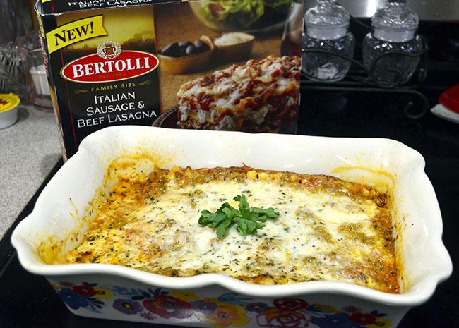 easy trick put frozen lasagna in a pretty serving dish