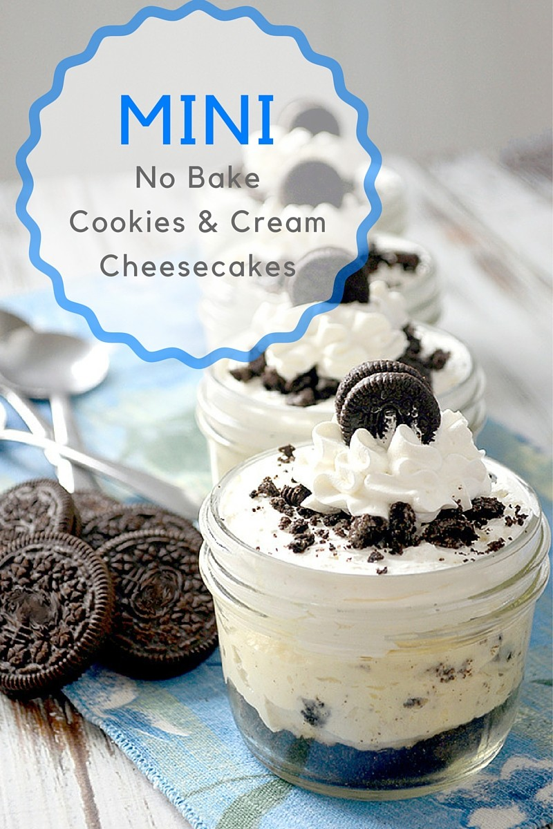 mini no bake cookies and cream cheesecakes hero