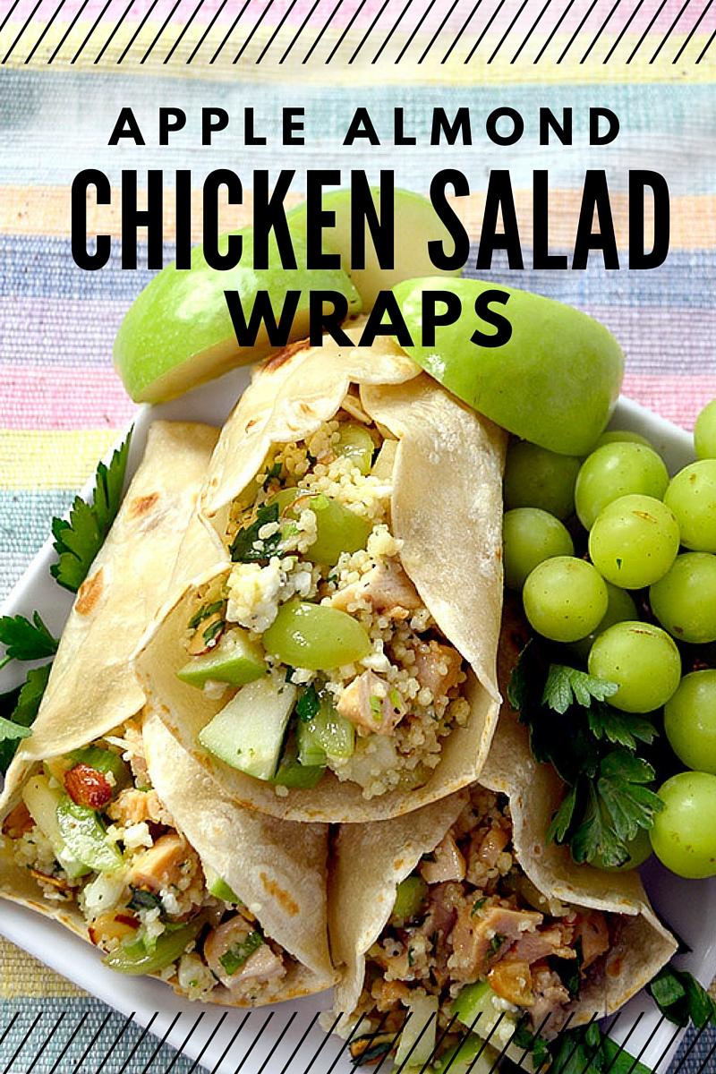 apple almond chicken salad wraps