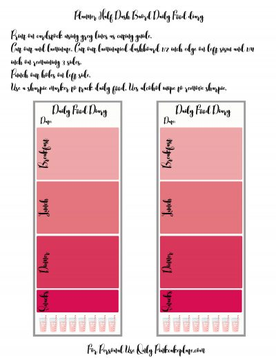 Weight Loss and DIY Food Diary Planner Dashboard - Pink ...
