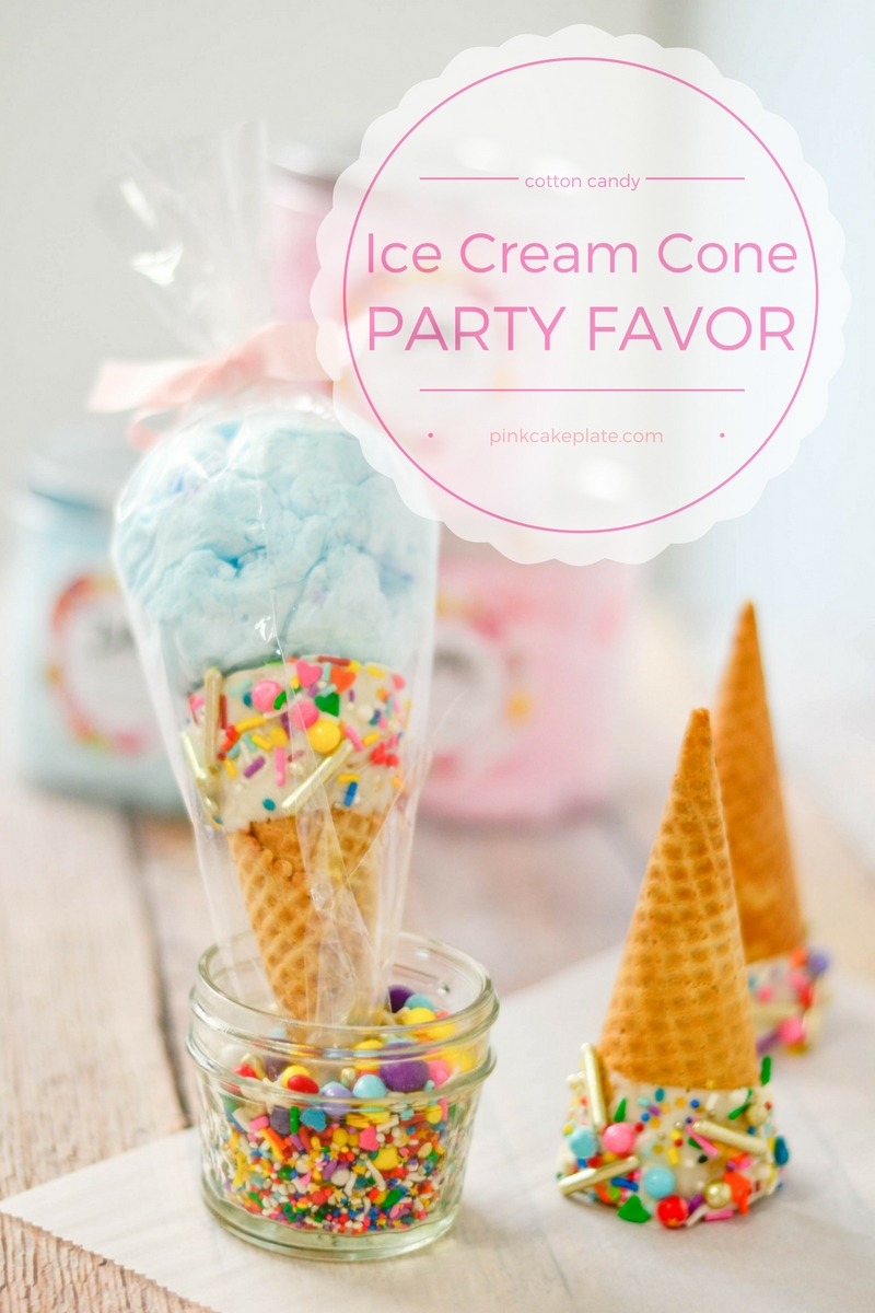 Cotton Candy Ice Cream Cone Party Favors - Pink Cake Plate