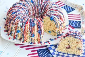 "Red, White & Blue Krispy Treat ""Bundt Cake"""