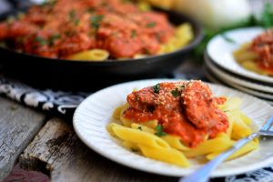 Creamy Tomato Penne Pasta with Chicken Sausage