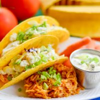 Buffalo Ranch Chicken Tacos with Blue Cheese Slaw