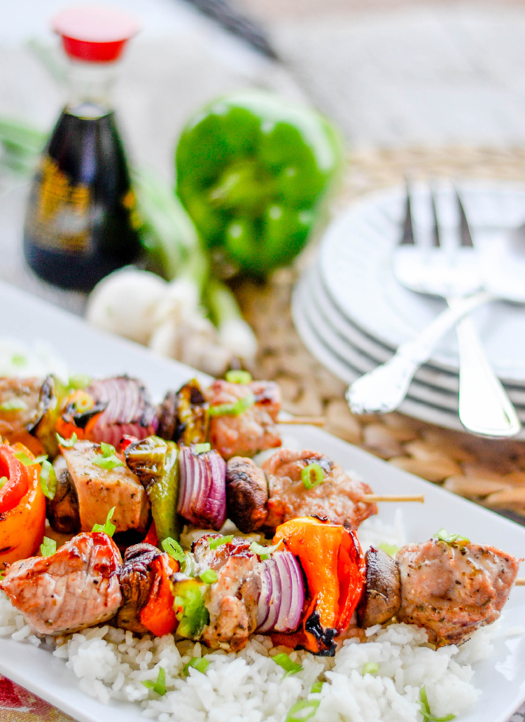 Grilled Garlic Pork Skewers