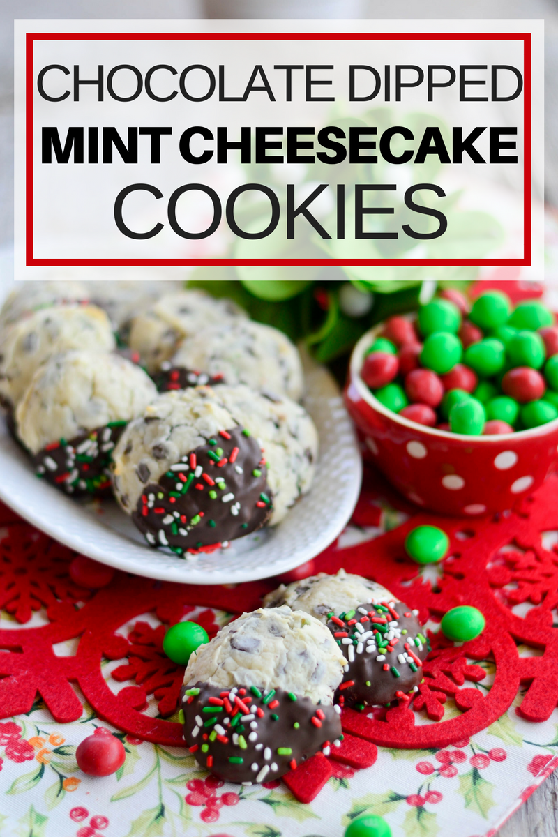 Chocolate Dipped Mint Cheesecake Cookies | christmas cookie recipes | cheesecake cookie recipes | holiday cookie recipes | easy christmas cookie recipes | holiday treats and sweets | christmas cookie ideas || Design Dazzle #christmascookies #christmascookierecipes #christmascookieidea
