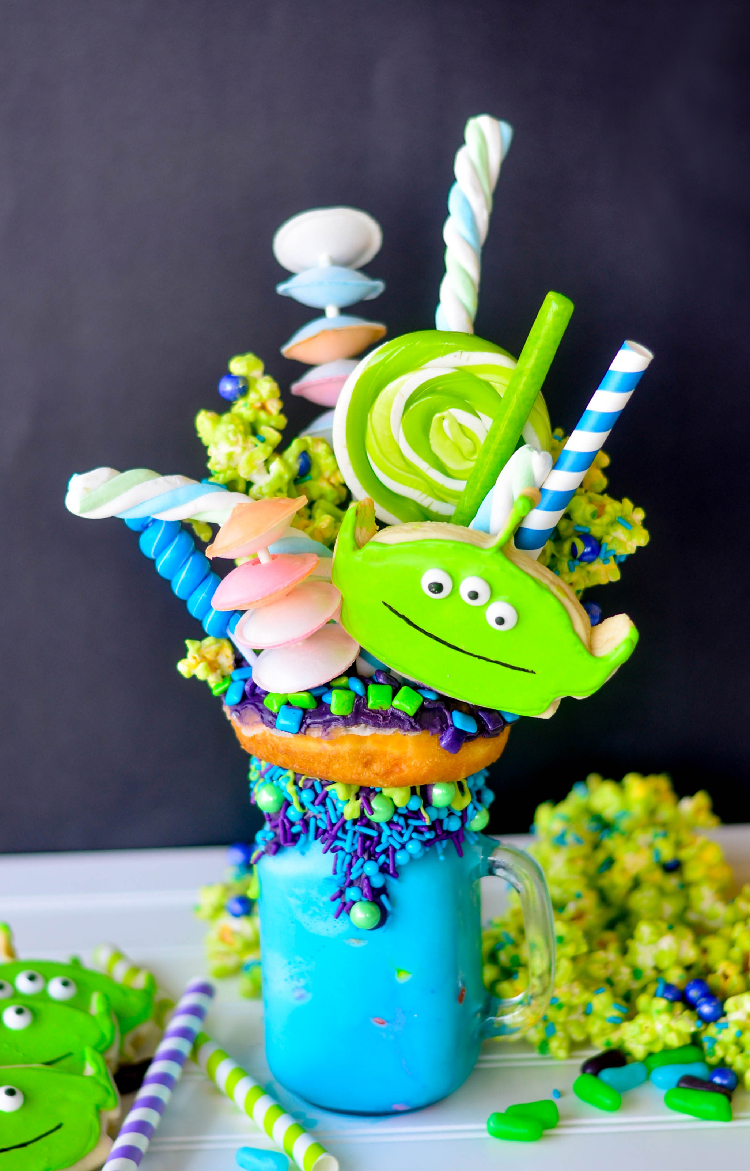 I was so excited when a few of us decided to have a Pixar Fest inspired Freak Shake Blog Hop! One of my favorite Pixar characters is the Little Green Alien from Toy Story so I had to make this Toy Story Green Alien Freak Shake.