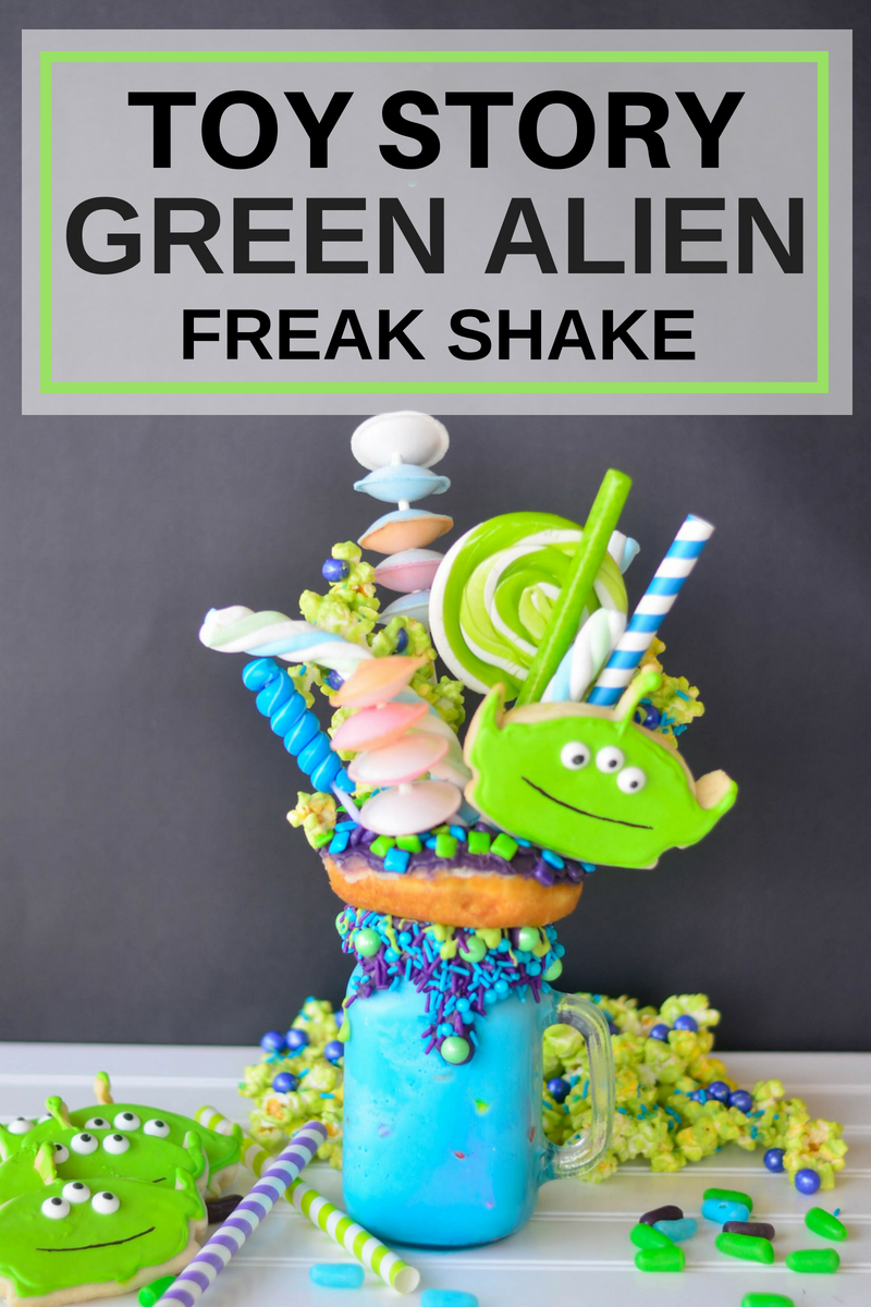 One of my favorite Pixar characters is the Little Green Alien from Toy Story so I had to make this Toy Story Green Alien Freak Shake.