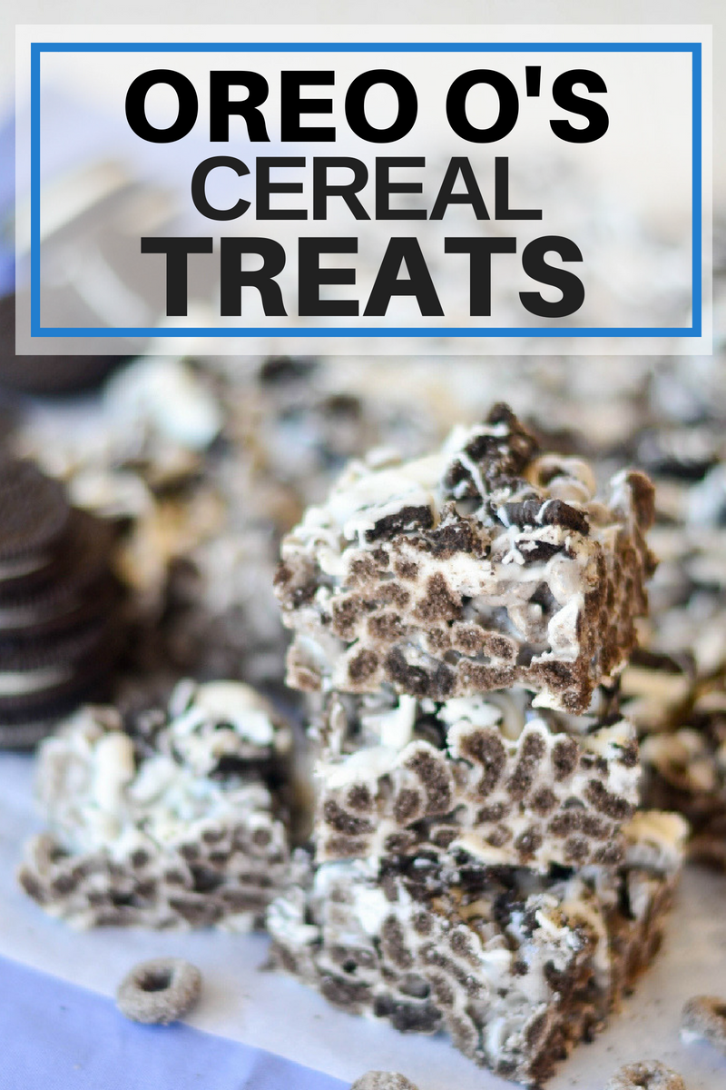 Oreo O's Cereal Treats with Oreo cookies in background.