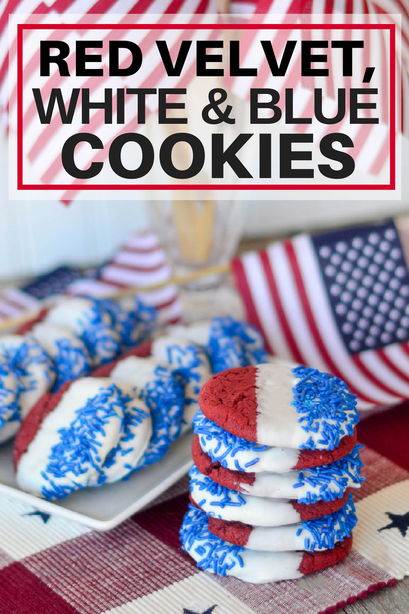 Red Velvet, White and Blue Cookies stacked and on white plate