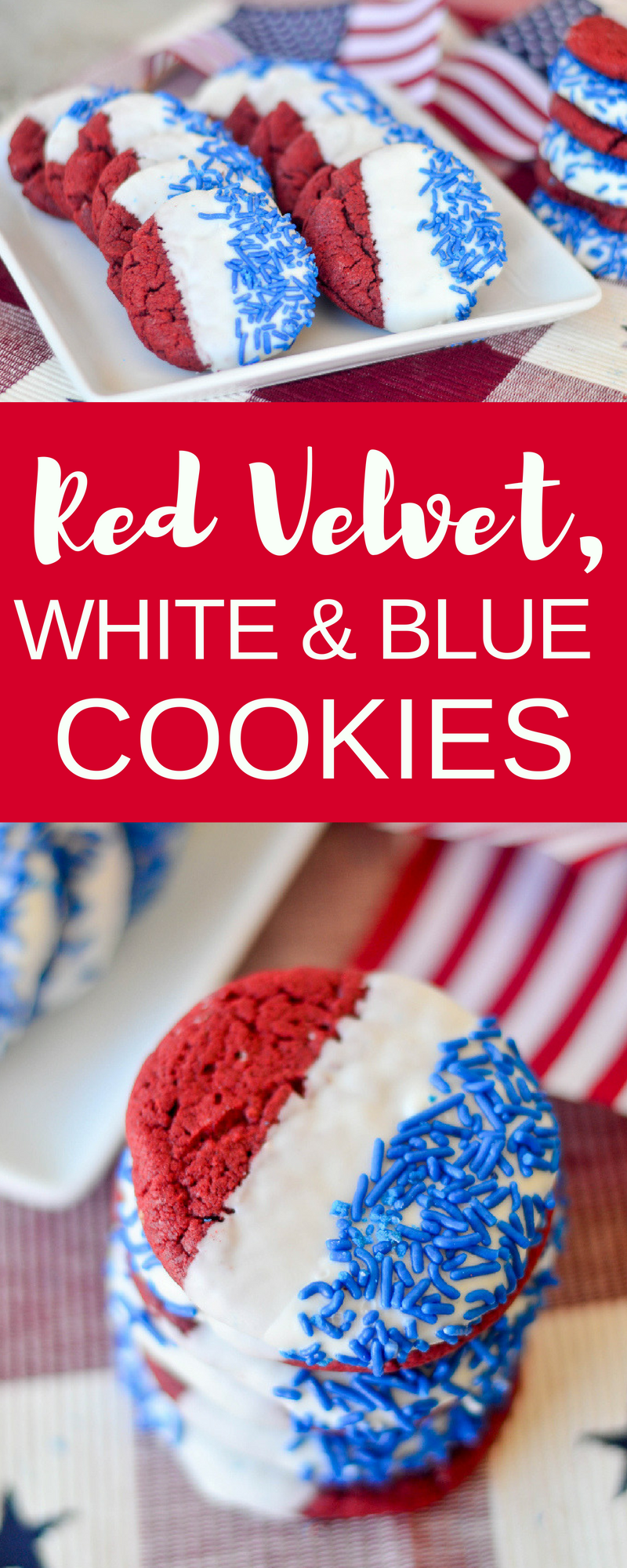 Red Velvet, White and blue cookies collage