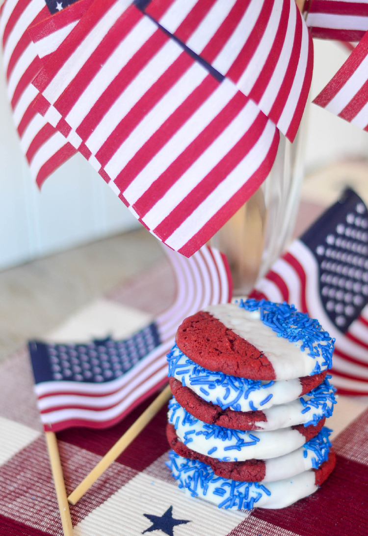 Red Velvet, White and blue cookies with flags