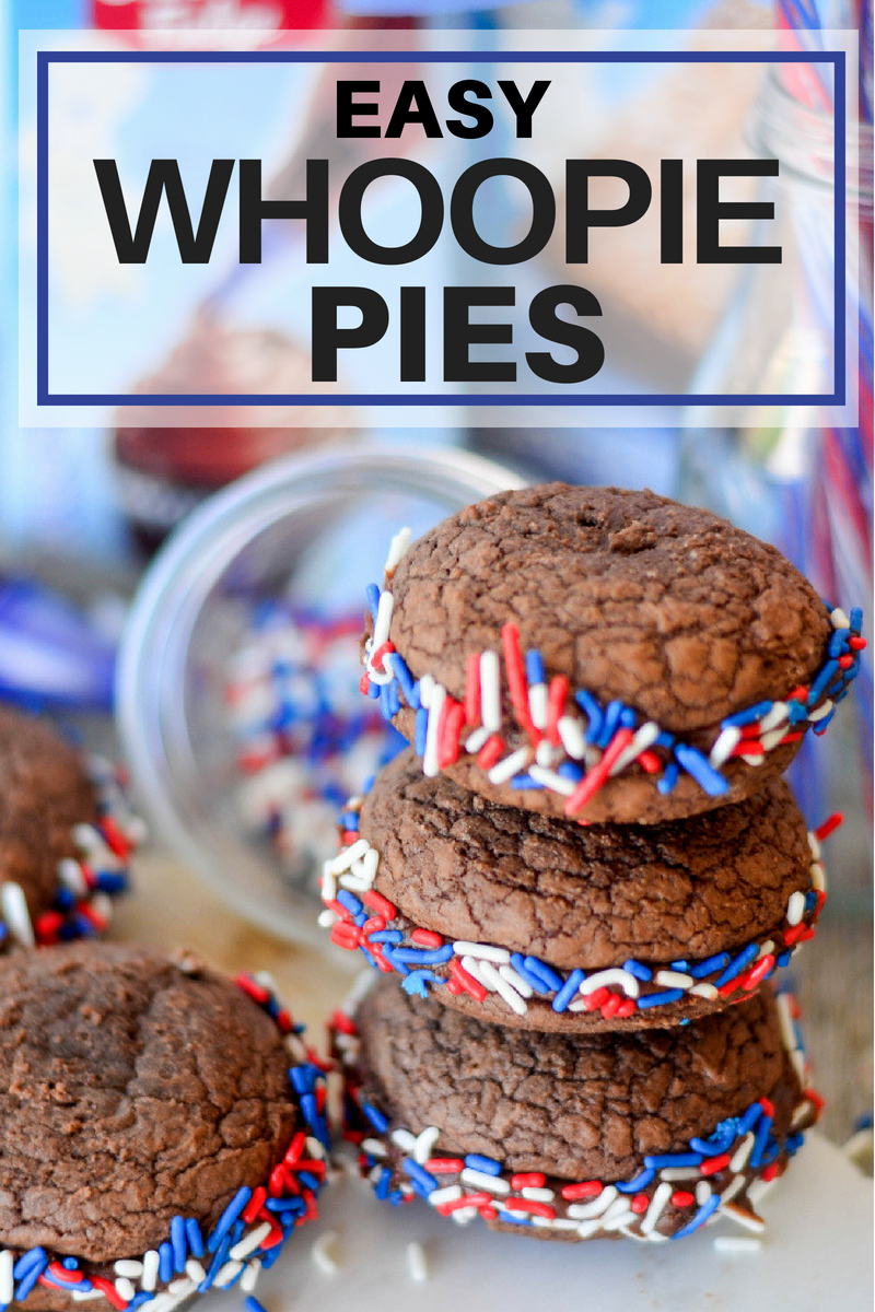 Easy Whoopie Pies close up with text on photos.