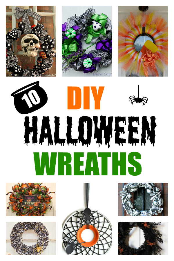 Ten DIY Halloween Wreaths collage with text
